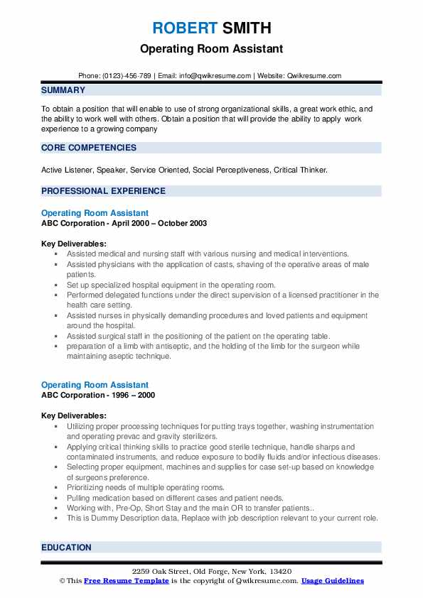 Operating Room Assistant Resume example