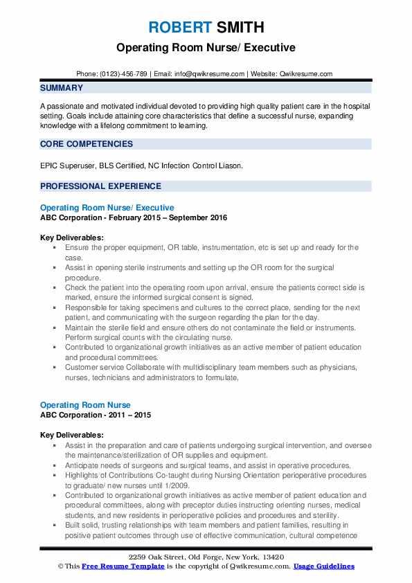 Operating Room Nurse/ Executive Resume Model