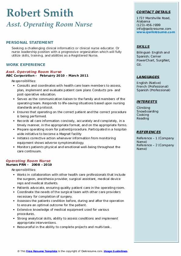 Asst. Operating Room Nurse Resume Template