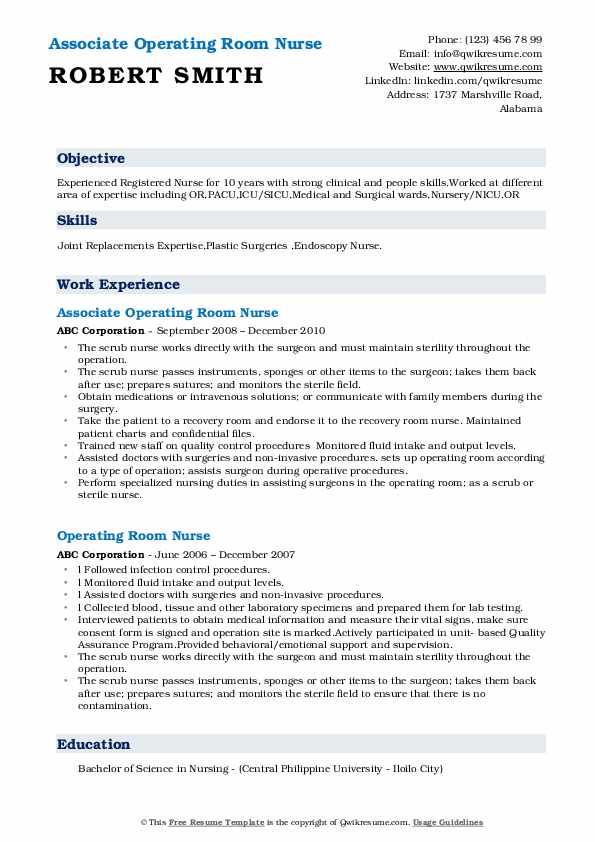 Associate Operating Room Nurse Resume Format