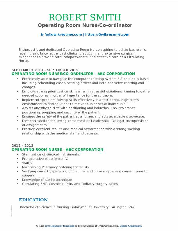 Operating Room Nurse/Co-ordinator Resume Template