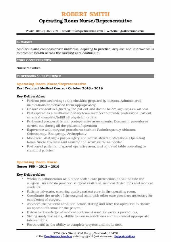 Operating Room Nurse/Representative Resume Format