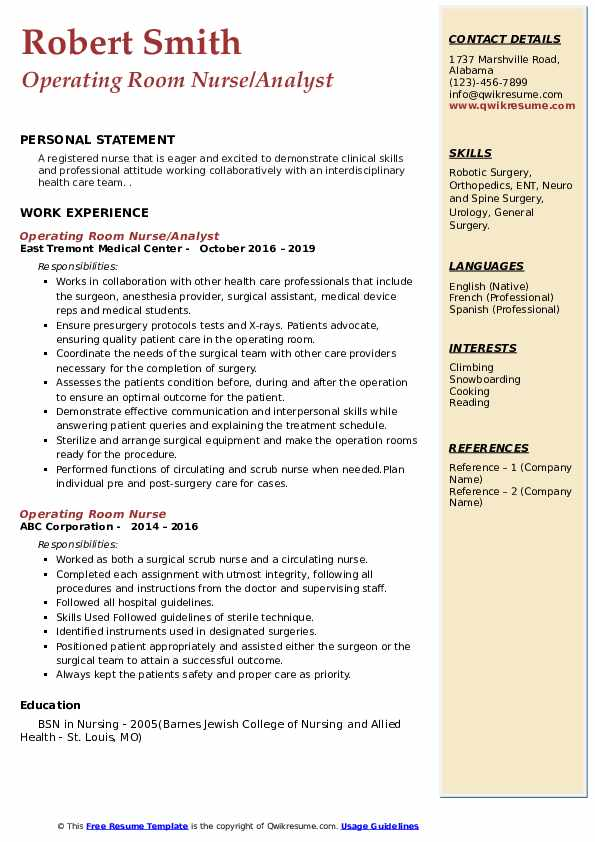 Operating Room Nurse Resume Samples Qwikresume