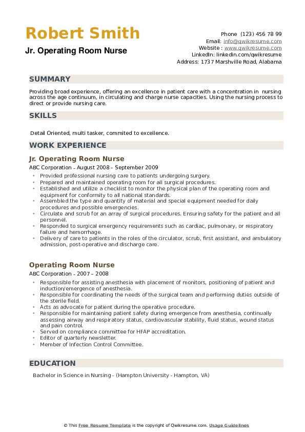 operating room nurse resume samples