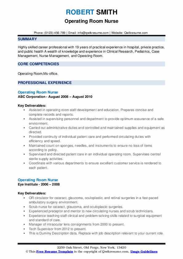 Operating Room Nurse Resume example
