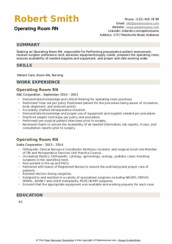 Operating Room RN Resume example