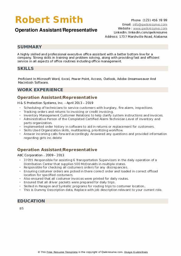 Operation Assistant Resume example