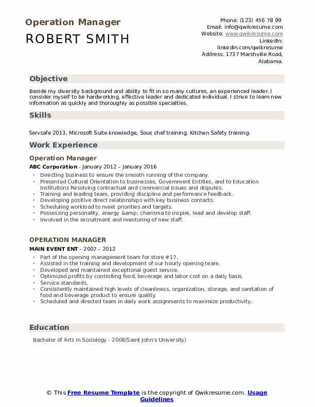 Operation Manager Resume Samples | QwikResume