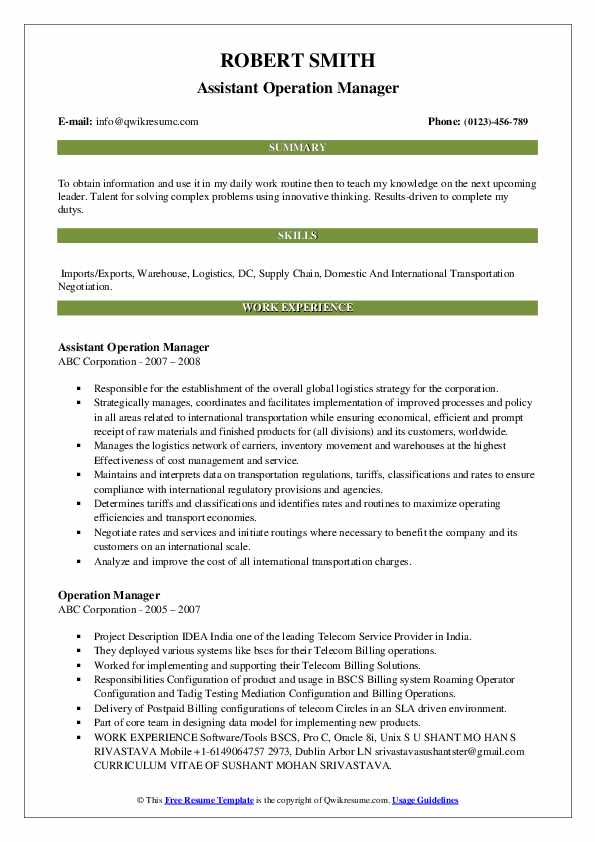 Assistant Operation Manager Resume Model
