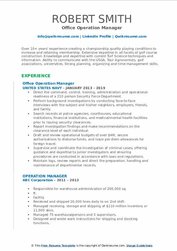 Operation Manager Resume Samples | QwikResume