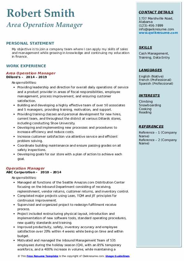 Area Operation Manager Resume Sample
