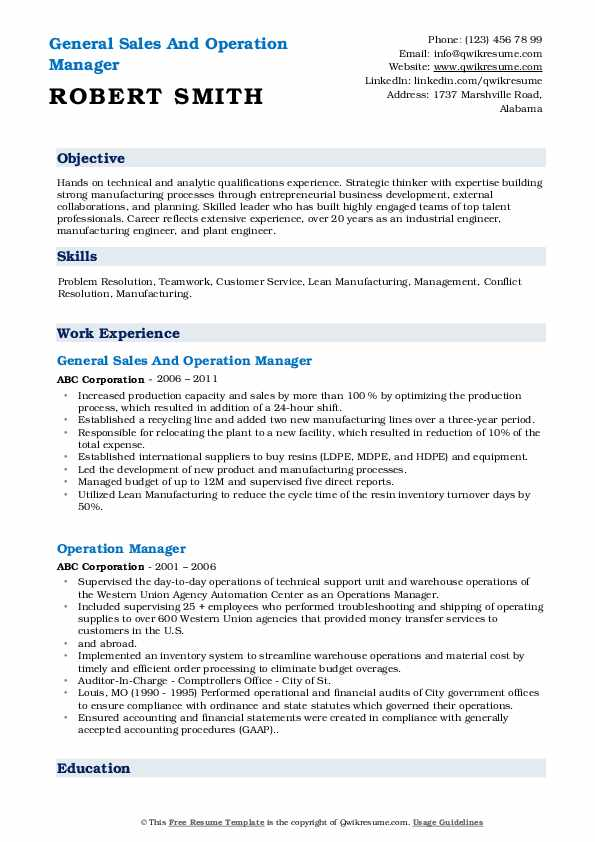 General Sales And Operation Manager Resume Format