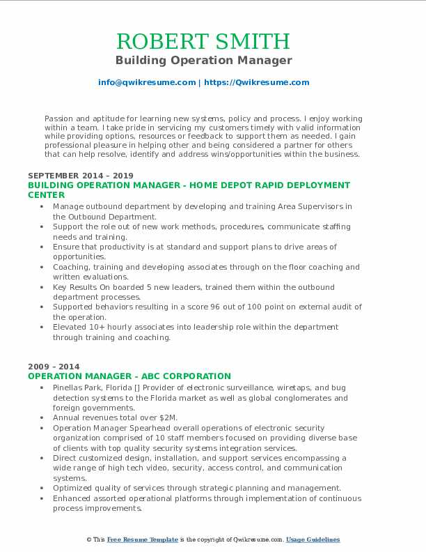 Building Operation Manager Resume Format