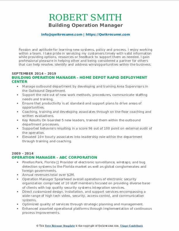 Building Operation Manager Resume Model
