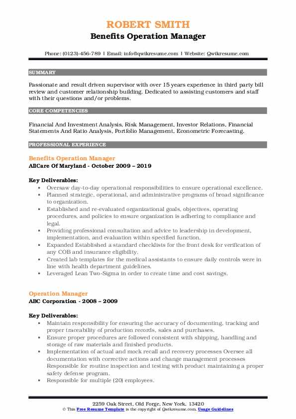 Benefits Operation Manager Resume Template