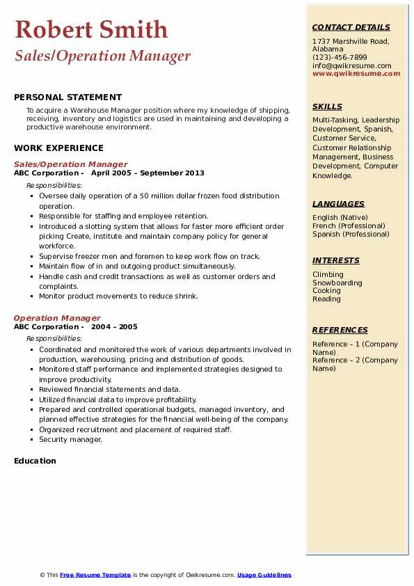 Sales/Operation Manager Resume Sample
