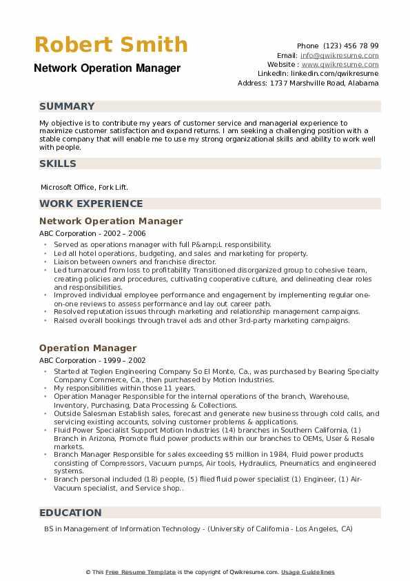 Network Operation Manager Resume Model