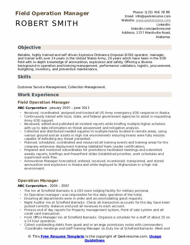 Field Operation Manager Resume Format
