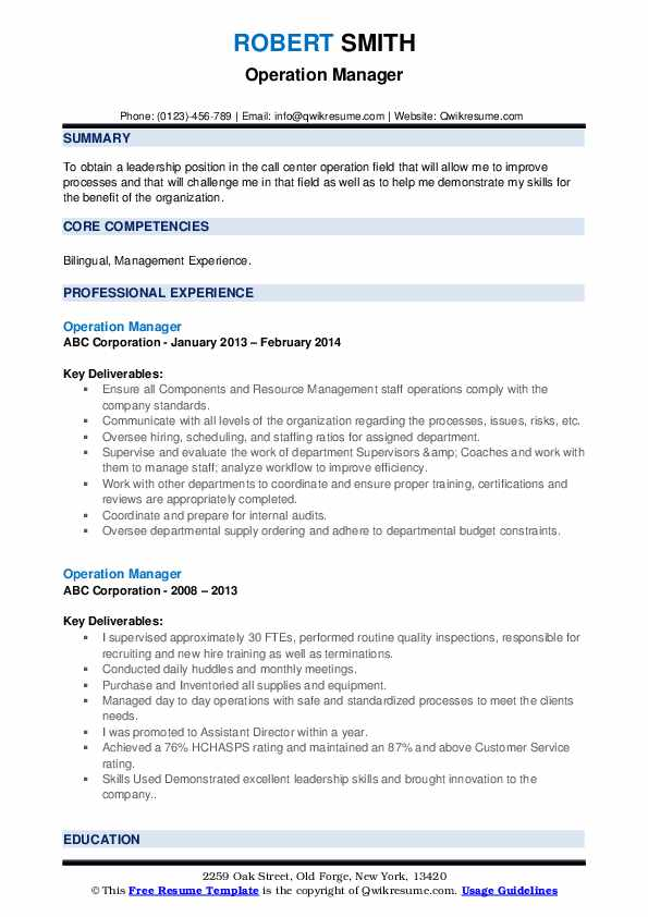 Operation Manager Resume example