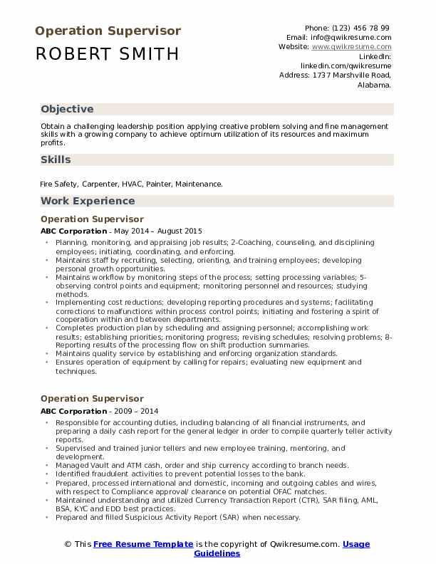 Operation Supervisor Resume Model