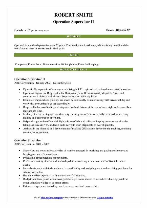 Operation Supervisor II Resume Template