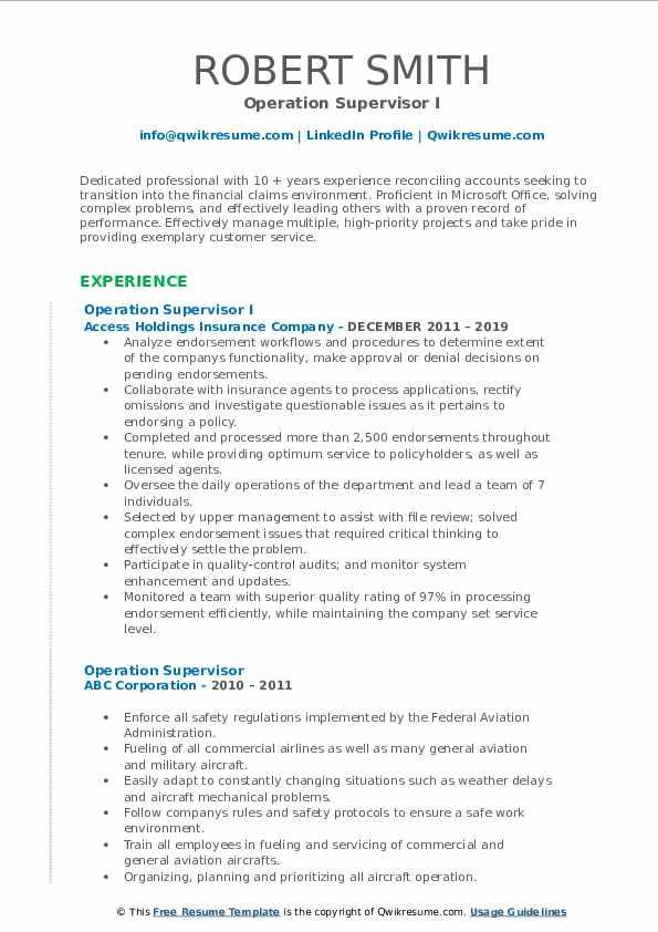 Operation Supervisor I Resume Format