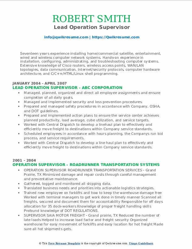 Lead Operation Supervisor Resume Format