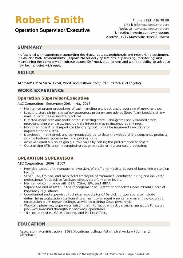 Operation Supervisor/Executive Resume Template
