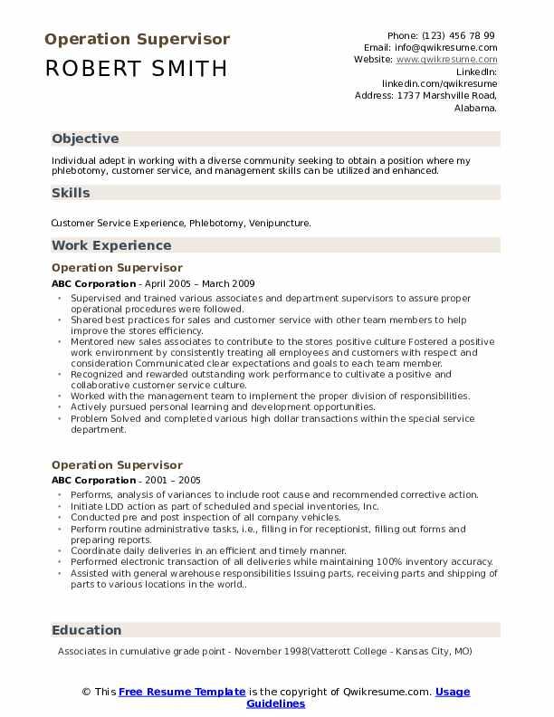 Operation Supervisor Resume example