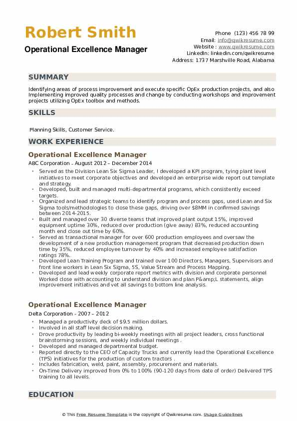 Operational Excellence Manager Resume example