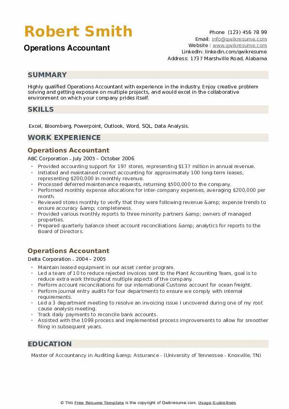 Operations Accountant Resume example