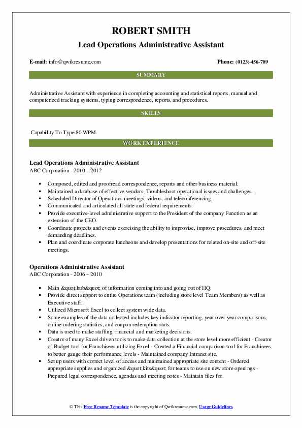 Lead Operations Administrative Assistant Resume Example