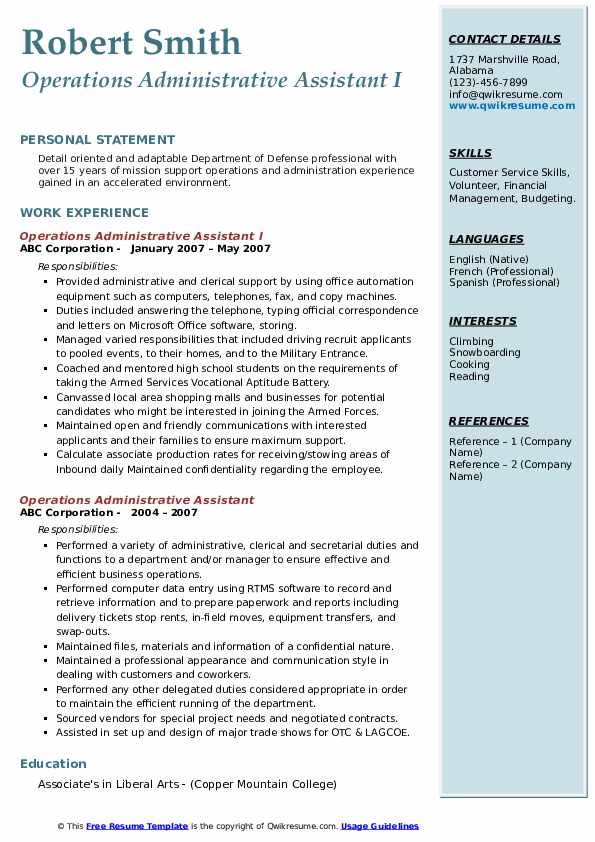 Operations Administrative Assistant I Resume Sample