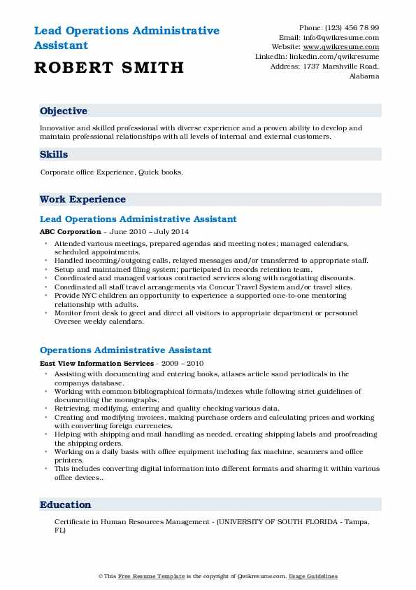 Lead Operations Administrative Assistant Resume Template