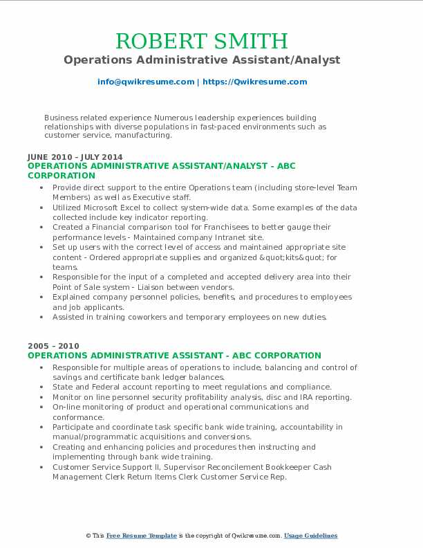Operations Administrative Assistant/Analyst Resume Format