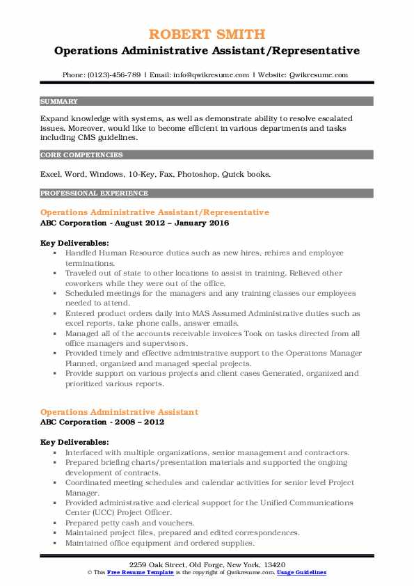 Operations Administrative Assistant/Representative Resume Format