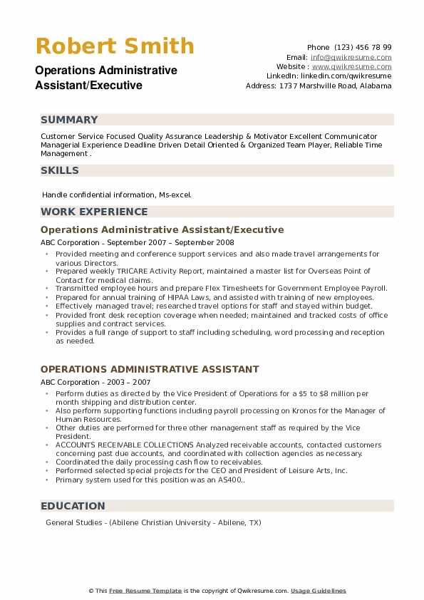 Operations Administrative Assistant/Executive Resume Sample