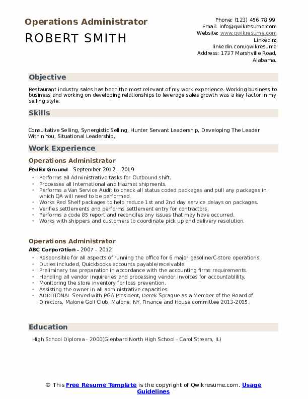 Operations Administrator Resume Example