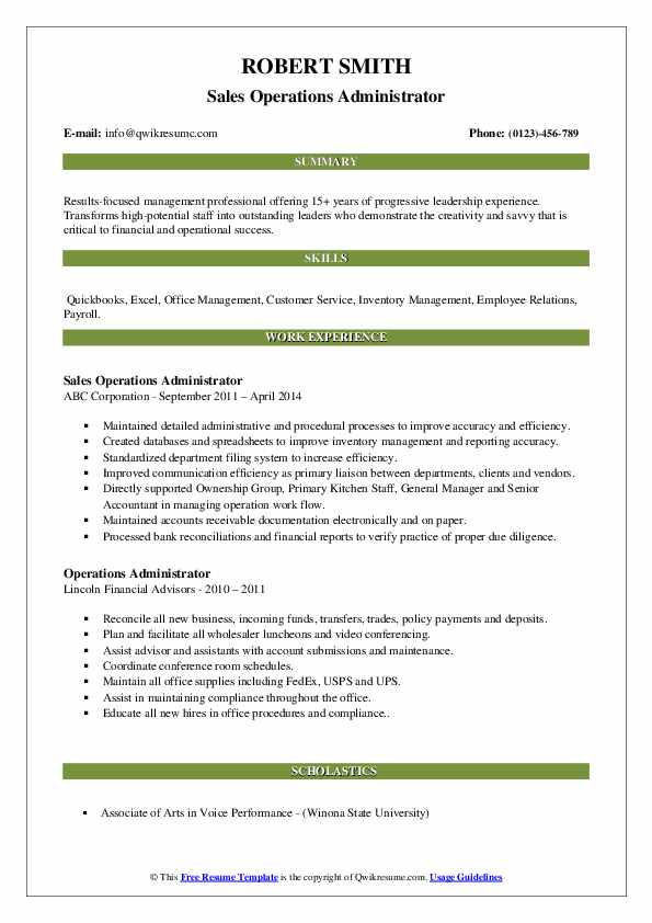 Sales Operations Administrator Resume Sample