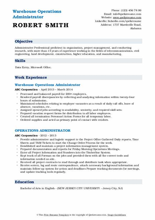 Warehouse Operations Administrator Resume Format