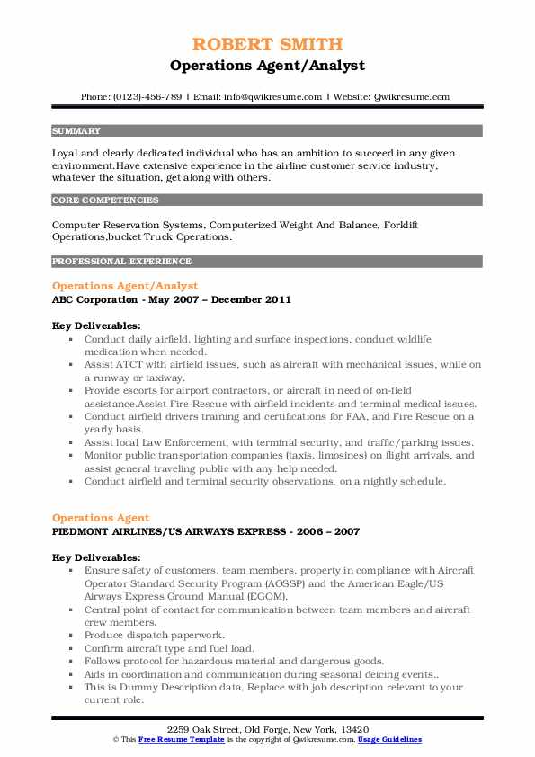 Operations Agent/Analyst Resume Model