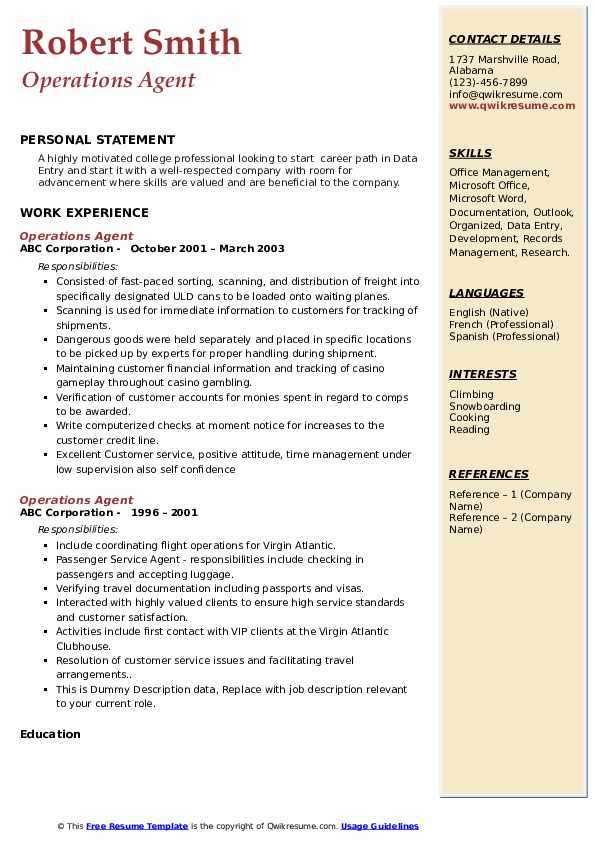 Operations Agent Resume Template