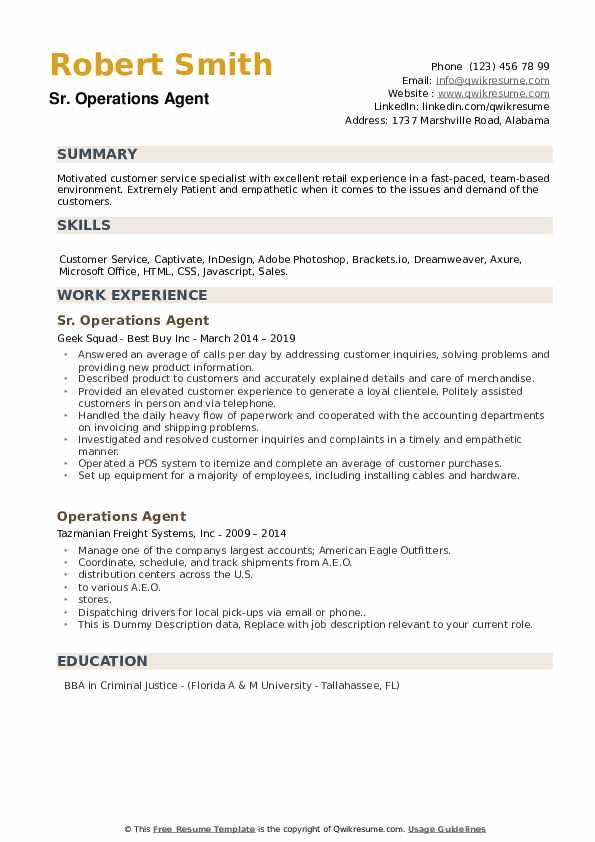 Sr. Operations Agent Resume Example