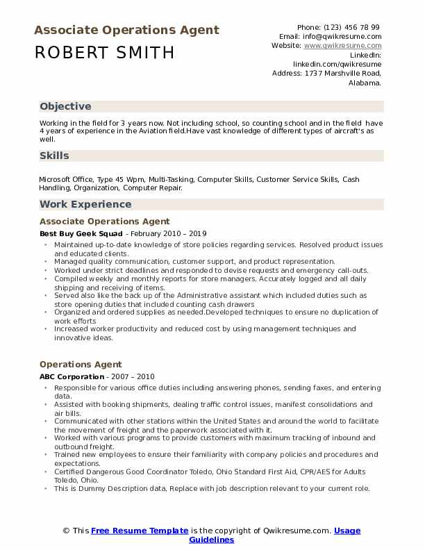 Associate Operations Agent Resume Sample