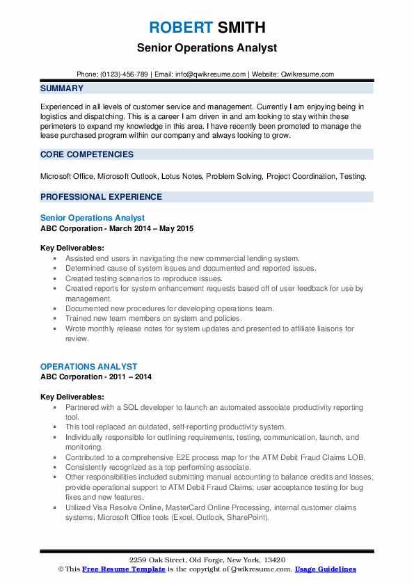 Senior Operations Analyst Resume Format
