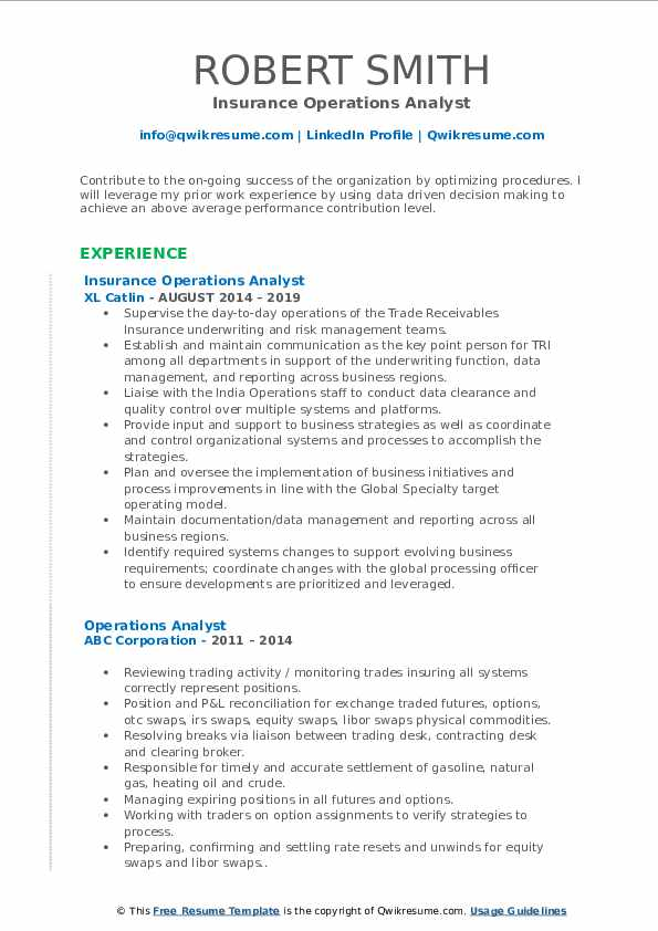 Insurance Operations Analyst Resume Example