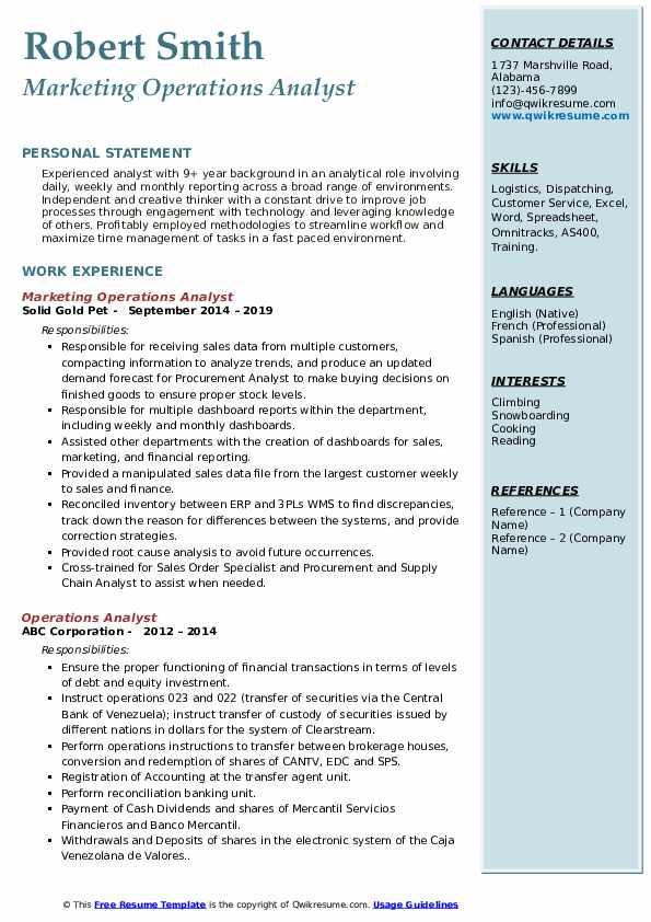 Marketing Operations Analyst Resume Example