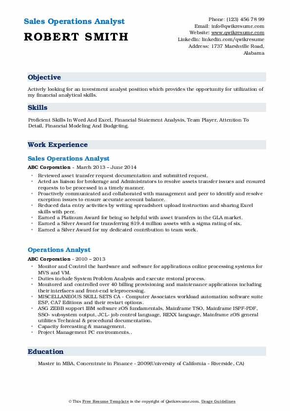 Sales Operations Analyst Resume Format