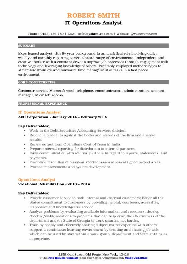 IT Operations Analyst Resume Example