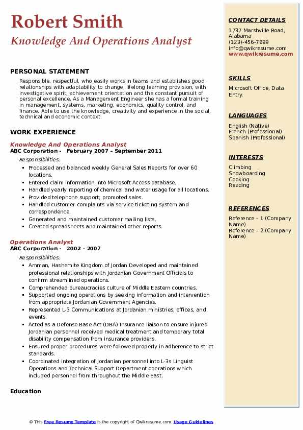 Operations Analyst Resume Samples Qwikresume